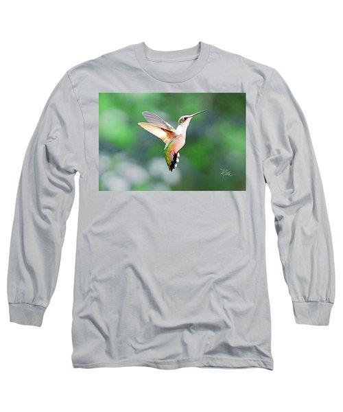 Hummingbird Hovering Long Sleeve T-Shirt by Meta Gatschenberger