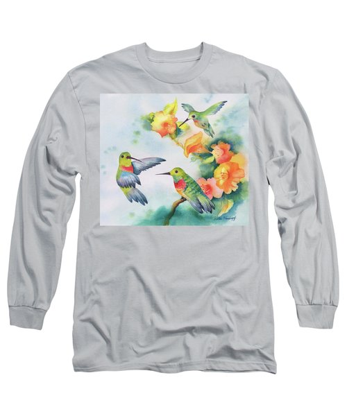 Hummingbirds With Orange Flowers Long Sleeve T-Shirt