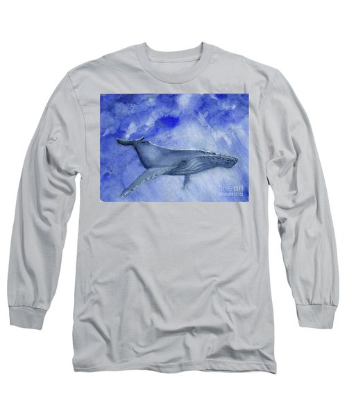 Humpback Yearling Under Our Boat Long Sleeve T-Shirt by Randy Sprout