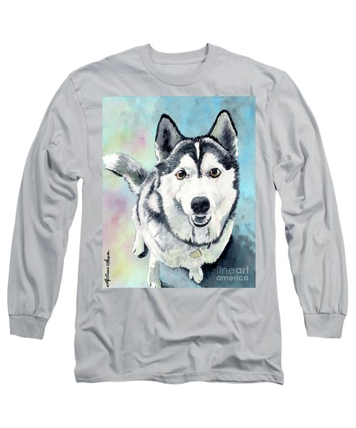 Husky Dog Love, Husky Painting, Husky Print, Dog Painting, Dog Print Long Sleeve T-Shirt