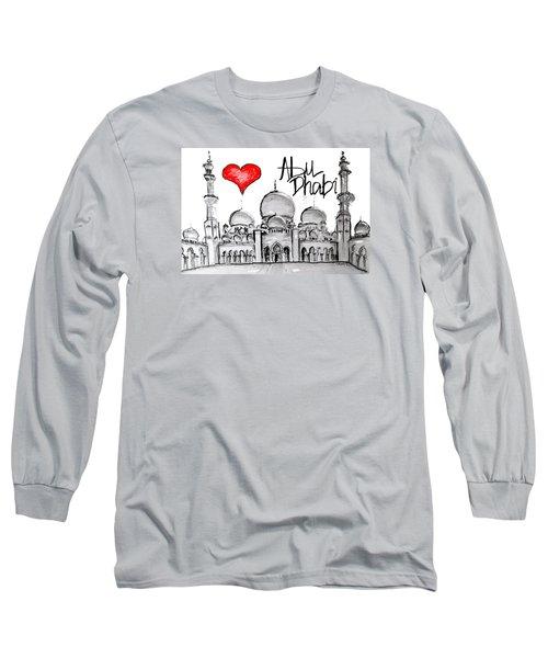 Long Sleeve T-Shirt featuring the drawing I Love Abu Dhabi by Sladjana Lazarevic