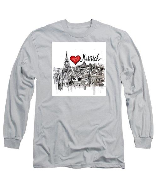 Long Sleeve T-Shirt featuring the drawing I Love Munich by Sladjana Lazarevic
