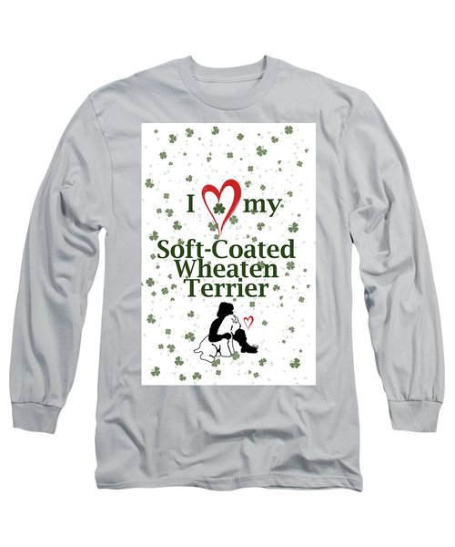 Long Sleeve T-Shirt featuring the digital art I Love My Wheaten Terrier by Rebecca Cozart
