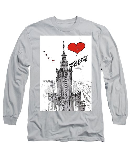 Long Sleeve T-Shirt featuring the drawing I Love Warsaw by Sladjana Lazarevic