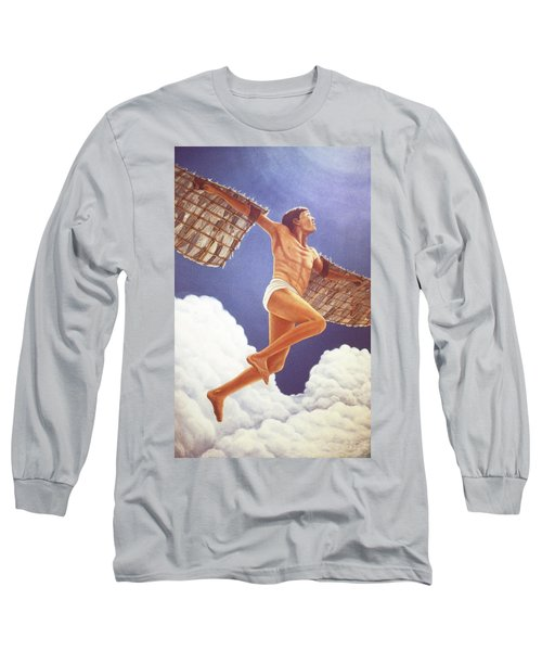 Long Sleeve T-Shirt featuring the painting Icarus Ascending by Laurie Stewart