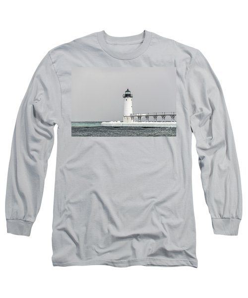 Ice On The Pier At Manistee Light Long Sleeve T-Shirt