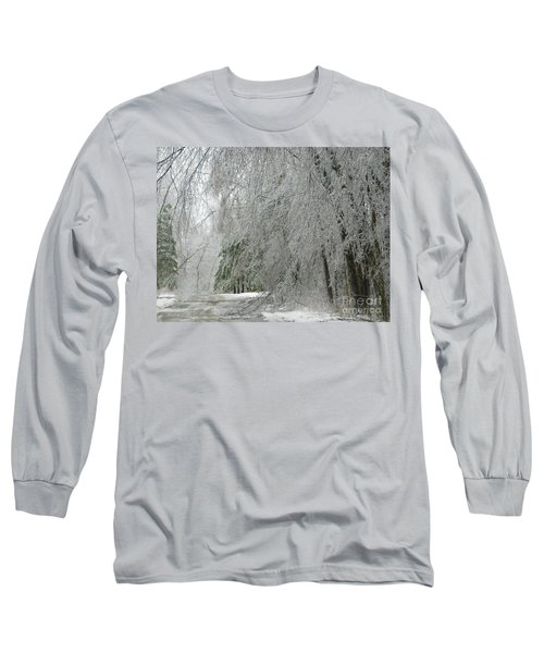 Long Sleeve T-Shirt featuring the photograph Icy Street Trees by Rockin Docks Deluxephotos