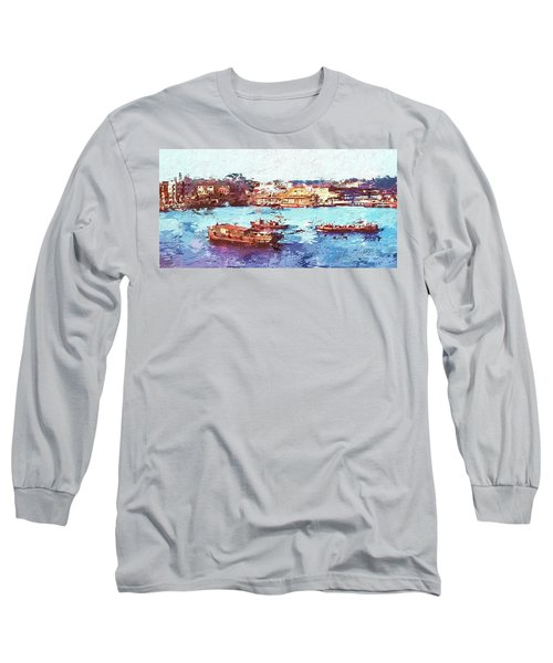 Long Sleeve T-Shirt featuring the digital art Inchon Harbor by Dale Stillman