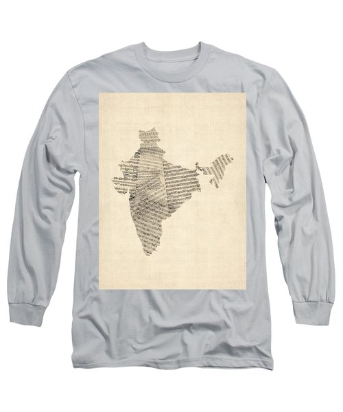 India Map, Old Sheet Music Map Of India Long Sleeve T-Shirt