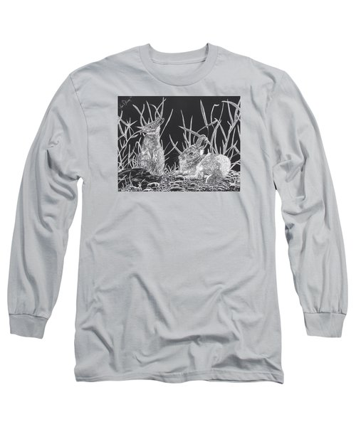Long Sleeve T-Shirt featuring the mixed media Indian Ink Rabbits by Kevin F Heuman