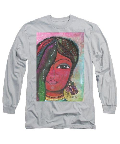 Indian Woman Rajasthani Colorful Long Sleeve T-Shirt