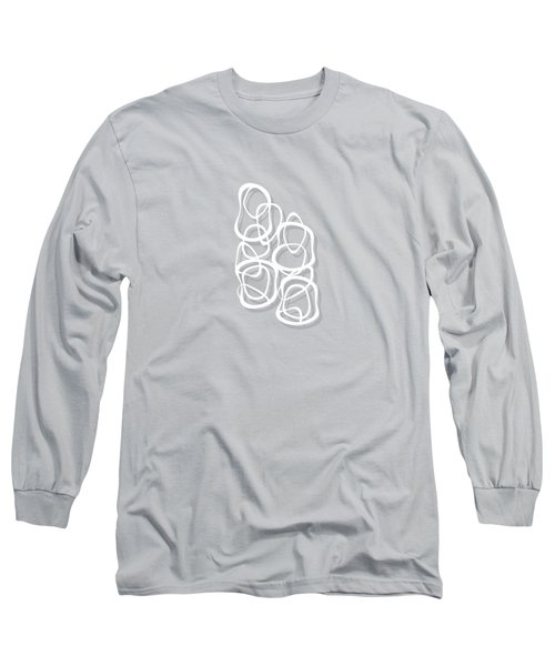 Interlocking - White On Soft Gray Owl - Pattern Long Sleeve T-Shirt