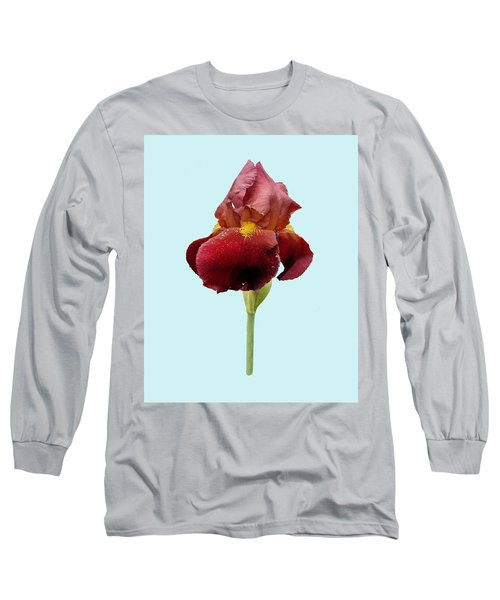 Iris Vitafire Blue Background Long Sleeve T-Shirt by Paul Gulliver