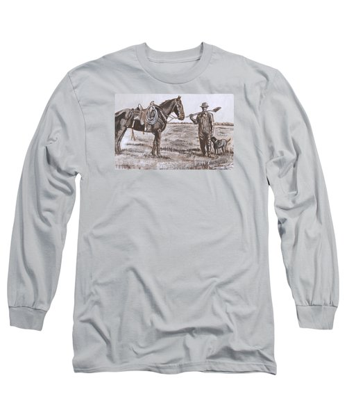 Irrigating The Hay Meadows Historical Vignette Long Sleeve T-Shirt by Dawn Senior-Trask