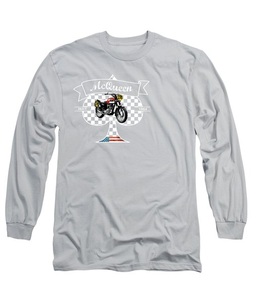 Isdt Triumph Steve Mcqueen Long Sleeve T-Shirt by Mark Rogan