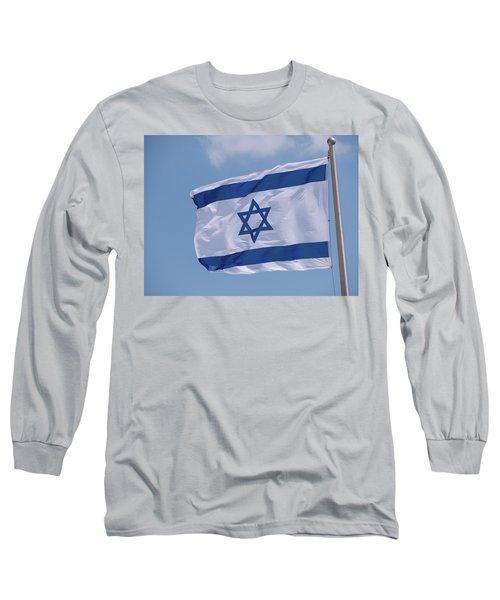 Israeli Flag In The Wind Long Sleeve T-Shirt by Yoel Koskas
