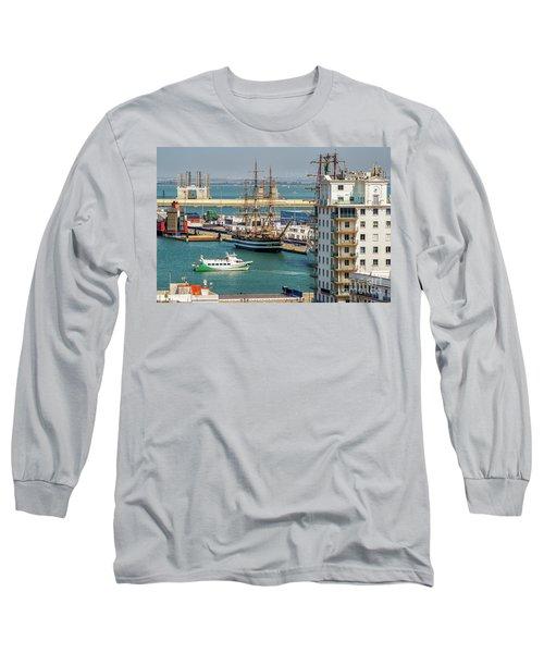 Long Sleeve T-Shirt featuring the photograph Italian Training Ship Amerigo Vespucci Cadiz Spain by Pablo Avanzini