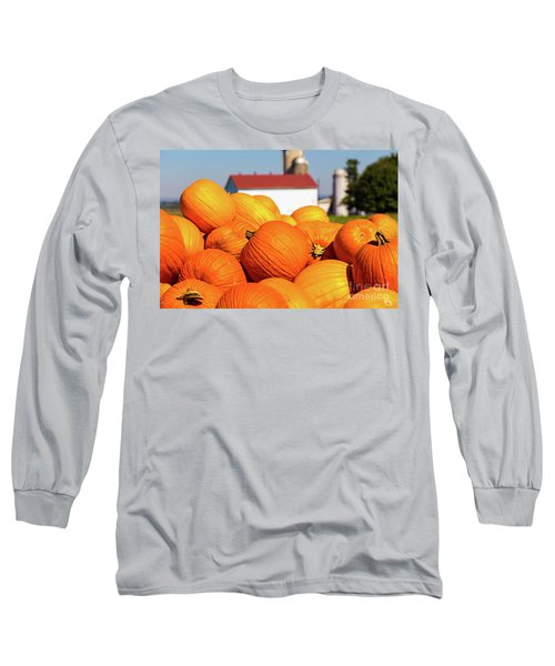 Jack-o-lantern Pumpkins At Farm Long Sleeve T-Shirt