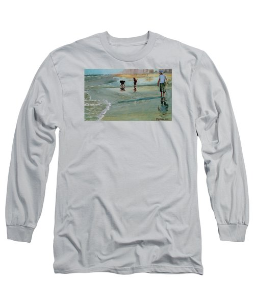 Long Sleeve T-Shirt featuring the painting Jacksonville Shell Hunt by Jeffrey S Perrine