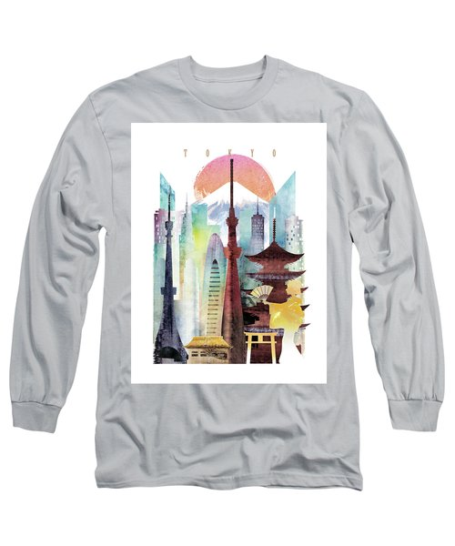 Japan Tokyo Long Sleeve T-Shirt by Unique Drawing