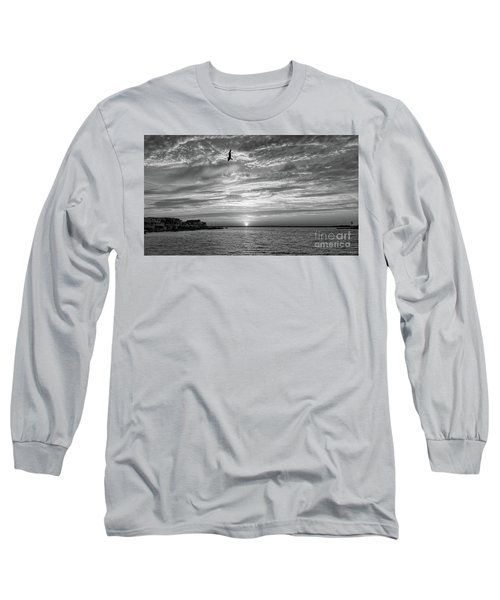 Jersey Shore Sunset In Black And White Long Sleeve T-Shirt