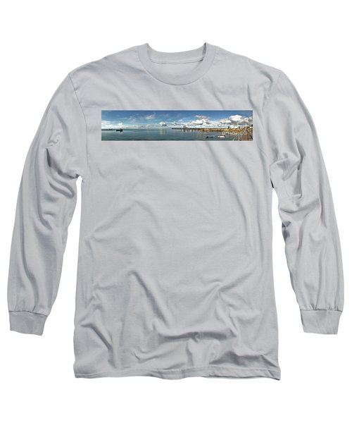 Long Sleeve T-Shirt featuring the photograph Jetty To Shore by Stephen Mitchell