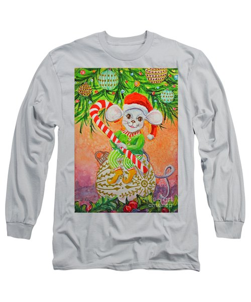 Long Sleeve T-Shirt featuring the painting Jingle Mouse by Li Newton