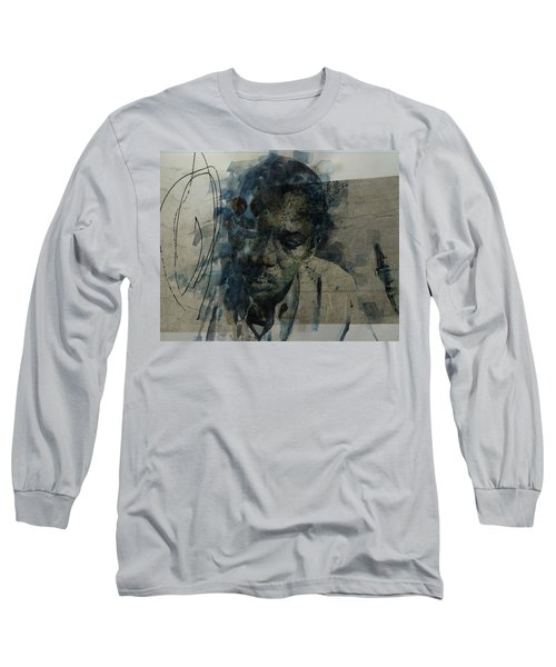 Long Sleeve T-Shirt featuring the mixed media John Coltrane / Retro by Paul Lovering