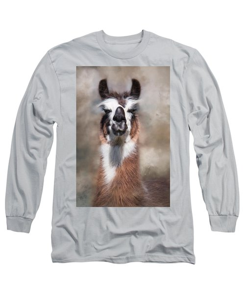 Long Sleeve T-Shirt featuring the photograph Jolly Llama by Robin-Lee Vieira