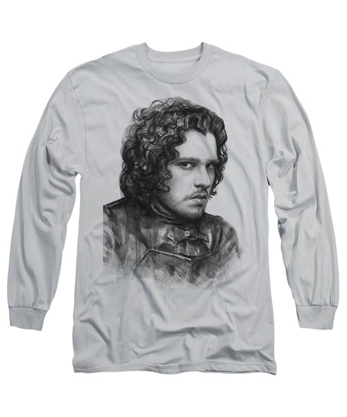 Jon Snow Game Of Thrones Long Sleeve T-Shirt by Olga Shvartsur
