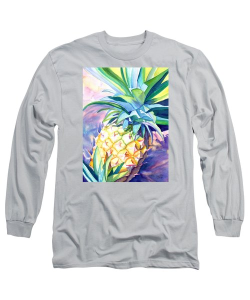 Long Sleeve T-Shirt featuring the painting Kauai Pineapple 3 by Marionette Taboniar