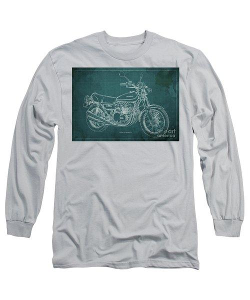 Kawasaki Motorcycle Blueprint, Mid Century Art Print Long Sleeve T-Shirt
