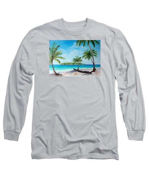 Kayak On The Beach Long Sleeve T-Shirt by Lloyd Dobson