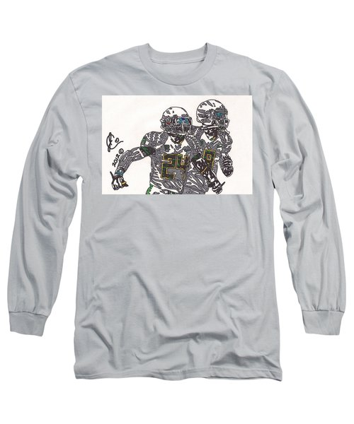 Kenjon Barner And Marcus Mariota Long Sleeve T-Shirt by Jeremiah Colley
