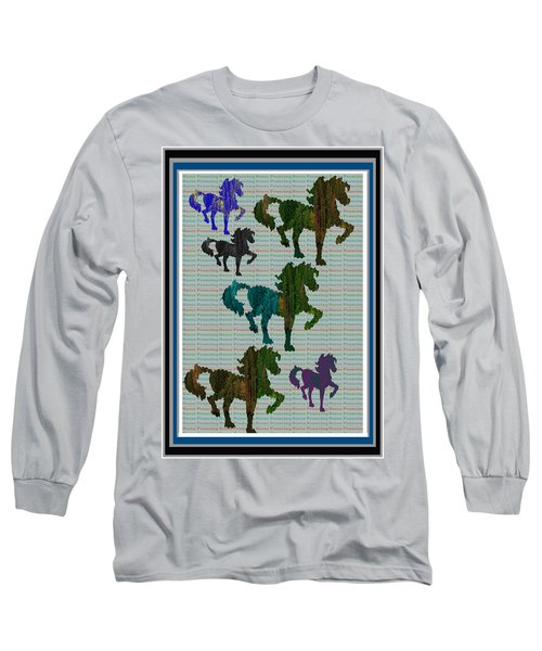Kids Fun Gallery Horse Prancing Art Made Of Jungle Green Wild Colors Long Sleeve T-Shirt
