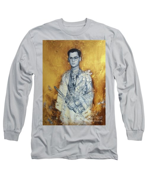 Long Sleeve T-Shirt featuring the painting King Phumiphol by Chonkhet Phanwichien