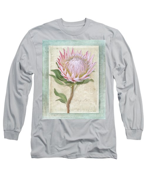 Long Sleeve T-Shirt featuring the painting King Protea Blossom - Vintage Style Botanical Floral 1 by Audrey Jeanne Roberts