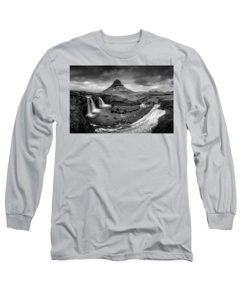 Kirkjufellsfoss Dawn Monochrome  Long Sleeve T-Shirt