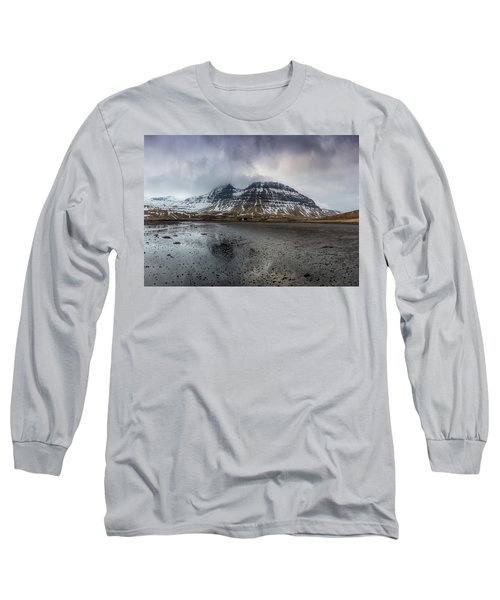 kirkjufellsfoss From Black Beach Long Sleeve T-Shirt