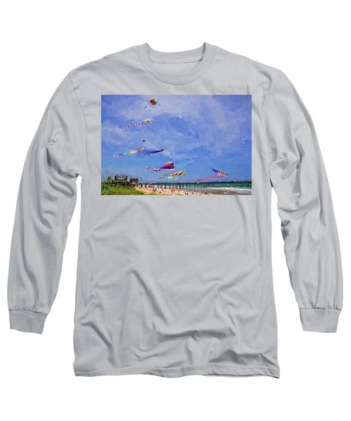 Kites At The Flagler Beach Pier Long Sleeve T-Shirt