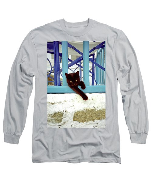 Kitten With Blue Rail Long Sleeve T-Shirt