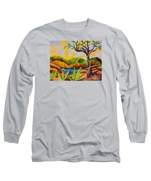 Kookaburra Landscape Long Sleeve T-Shirt by Judy Via-Wolff