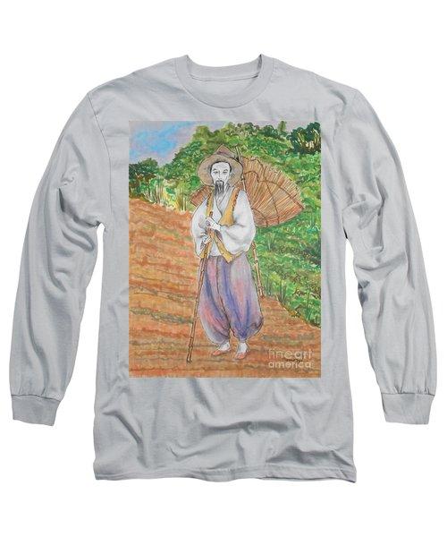Korean Farmer -- The Original -- Old Asian Man Outdoors Long Sleeve T-Shirt