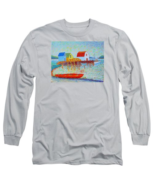 Kyak At Blue Rocks Long Sleeve T-Shirt by Rae  Smith