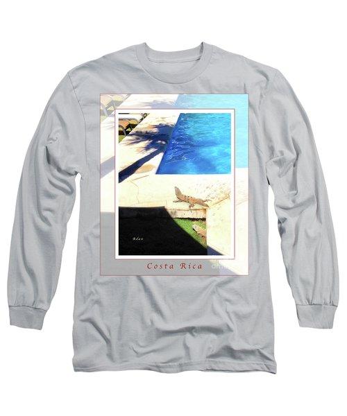 la Casita Playa Hermosa Puntarenas Costa Rica - Iguanas Poolside Greeting Card Poster Long Sleeve T-Shirt by Felipe Adan Lerma
