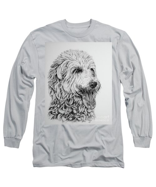 Long Sleeve T-Shirt featuring the drawing Labradoodle by Terri Mills