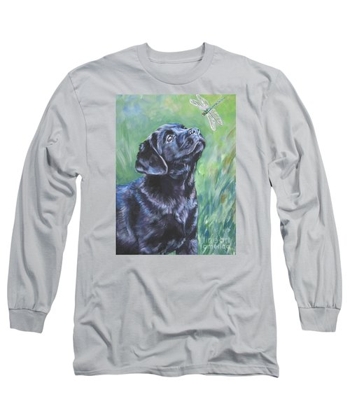 Labrador Retriever Pup And Dragonfly Long Sleeve T-Shirt by Lee Ann Shepard