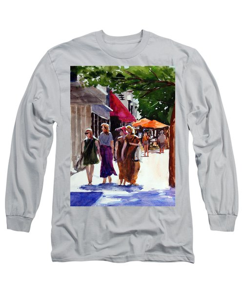 Long Sleeve T-Shirt featuring the painting Ladies That Shop by Ron Stephens