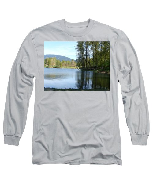 Long Sleeve T-Shirt featuring the painting Lafarge Lake Serenity by Rod Jellison