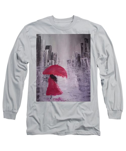 Long Sleeve T-Shirt featuring the painting Laidy In The City Abstract Art by Sheila Mcdonald